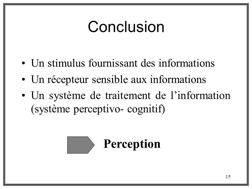 Conclusion Perception Un stimulus fournissant des informations