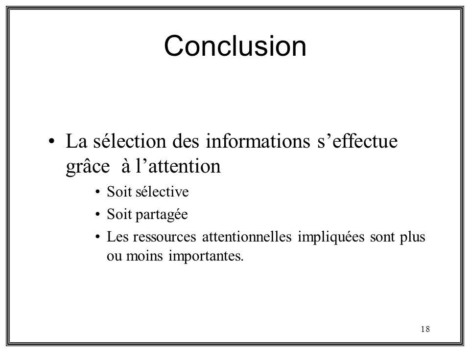 Conclusion La sélection des informations s'effectue grâce à l'attention. Soit sélective. Soit partagée.