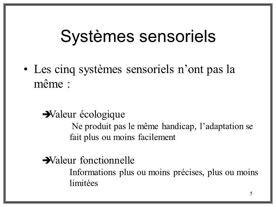Systèmes sensoriels Les cinq systèmes sensoriels n'ont pas la même :