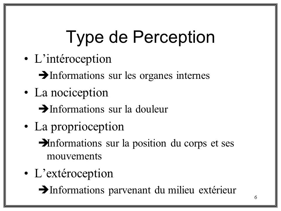 Type de Perception L'intéroception La nociception La proprioception