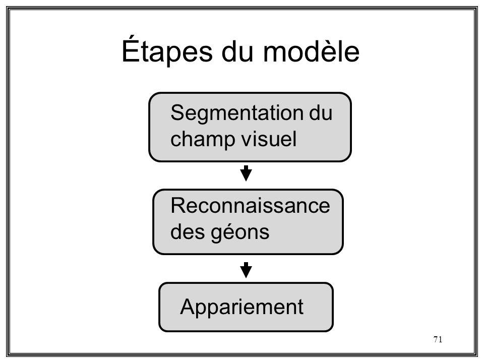 Étapes du modèle Segmentation du champ visuel Reconnaissance des géons