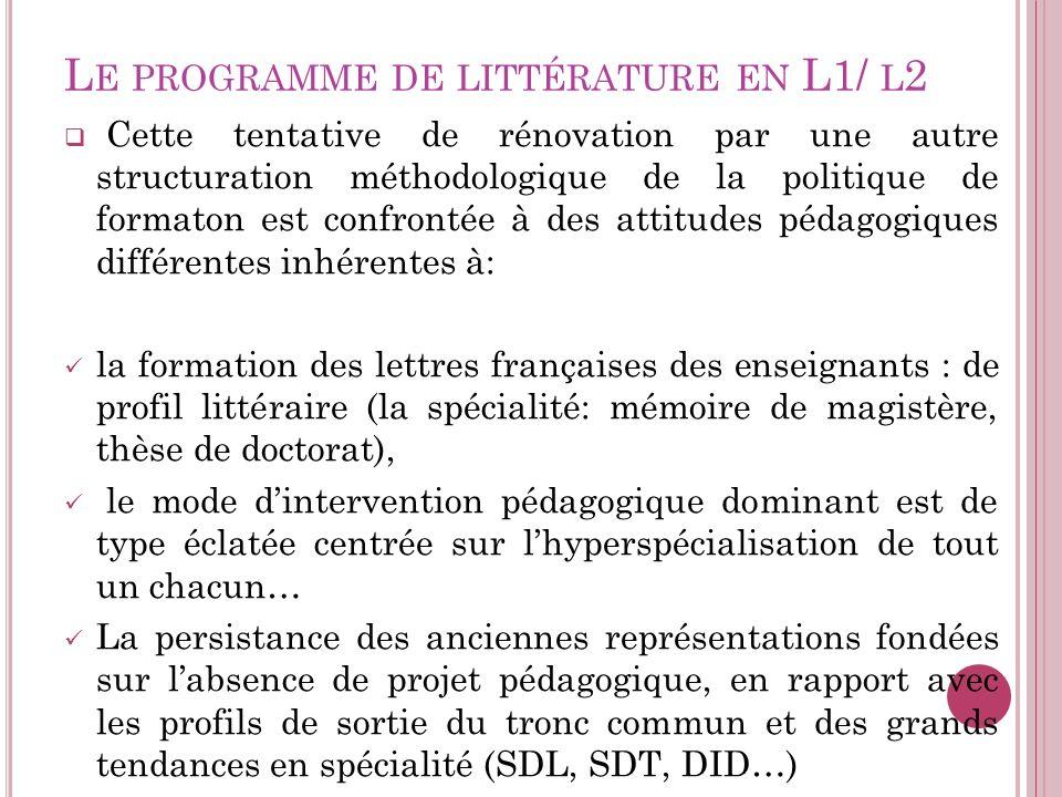 Le programme de littérature en L1/ l2