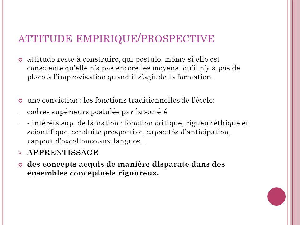 attitude empirique/prospective