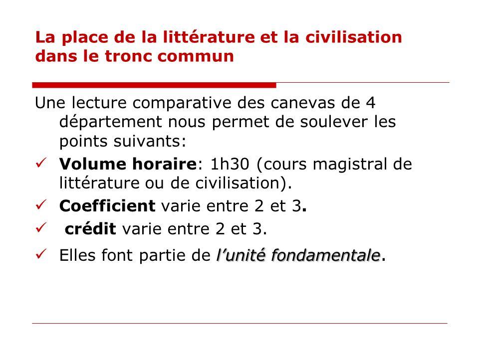 La place de la littérature et la civilisation dans le tronc commun