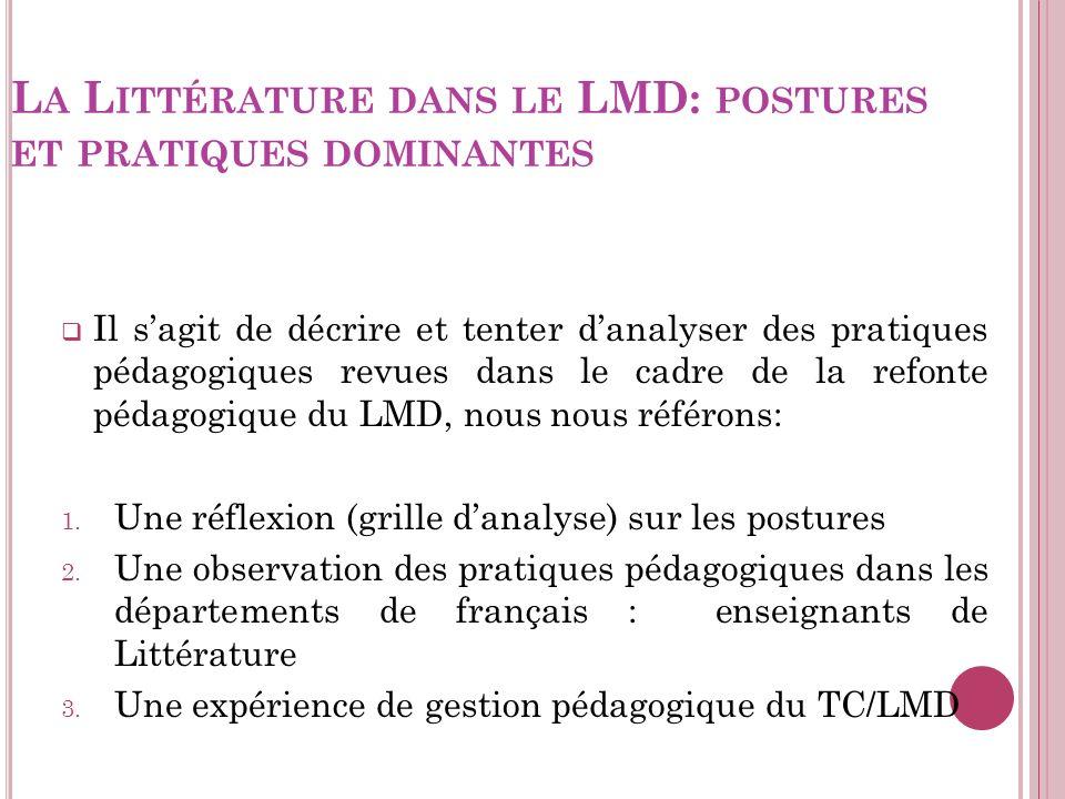 La Littérature dans le LMD: postures et pratiques dominantes