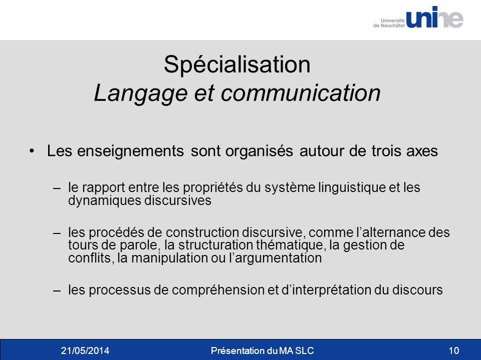 Spécialisation Langage et communication