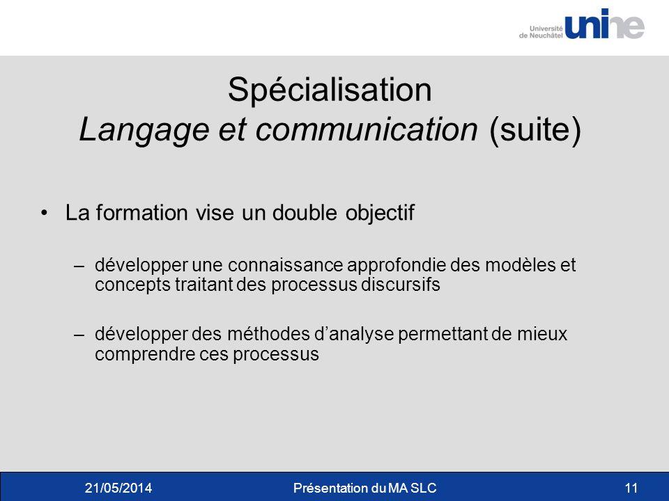 Spécialisation Langage et communication (suite)