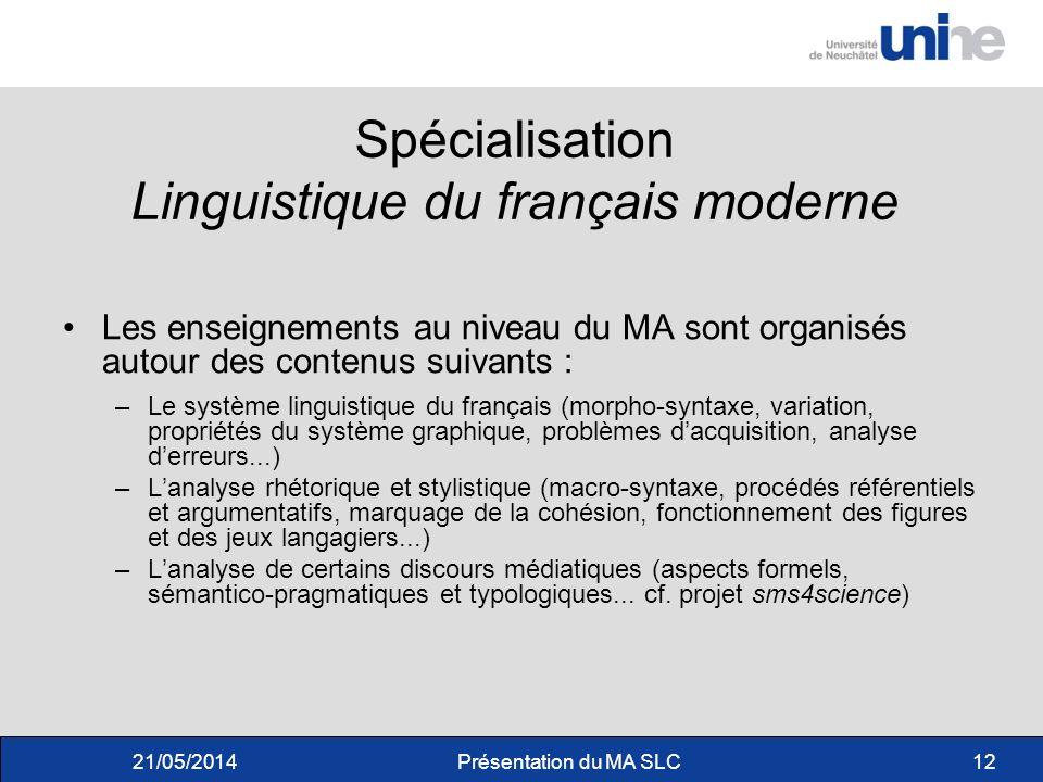 Spécialisation Linguistique du français moderne