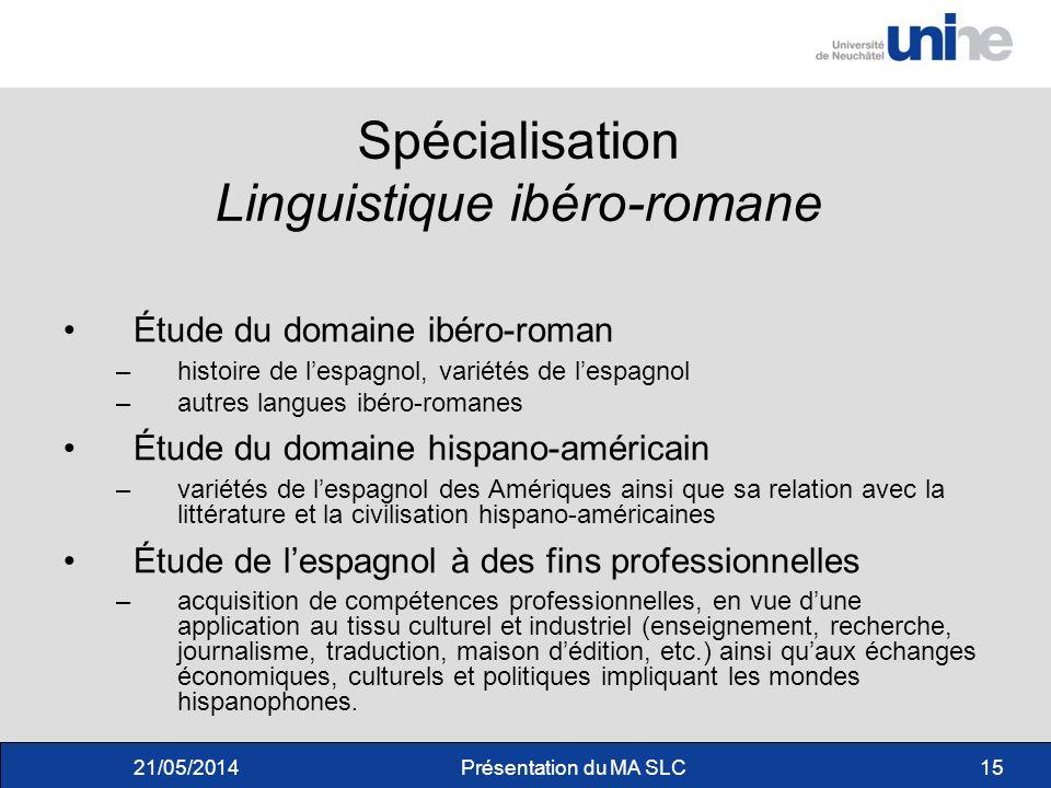 Spécialisation Linguistique ibéro-romane