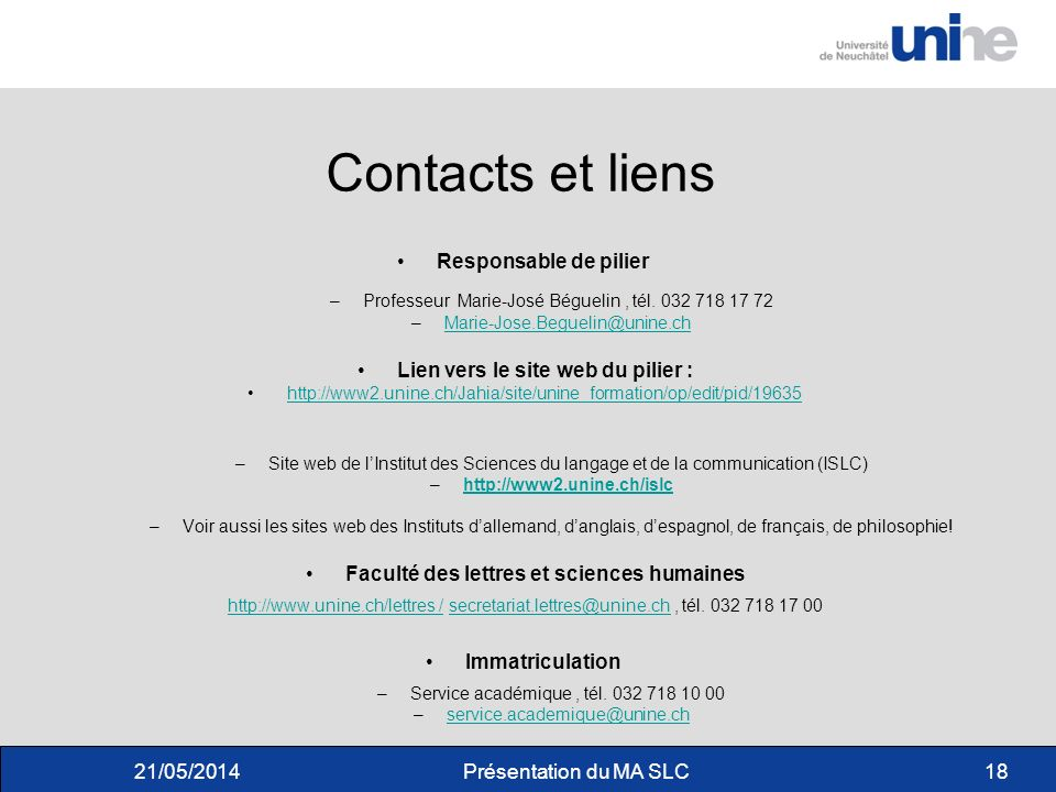 Contacts et liens Responsable de pilier