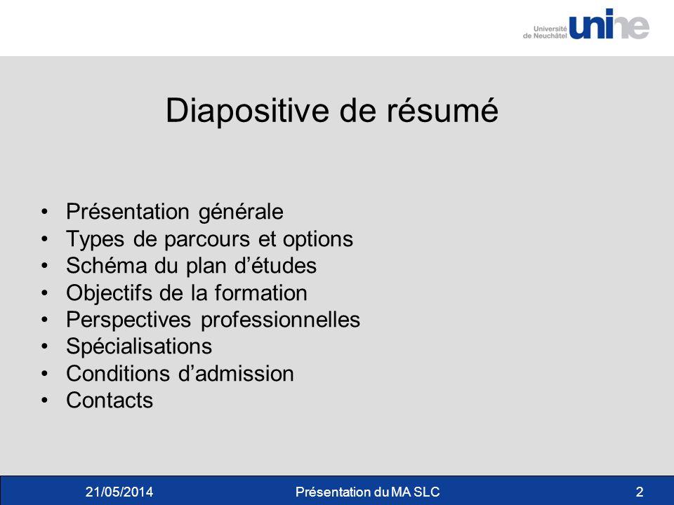 Diapositive de résumé Présentation générale