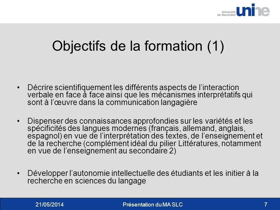 Objectifs de la formation (1)