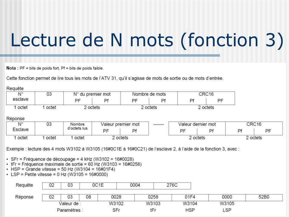 Lecture de N mots (fonction 3)