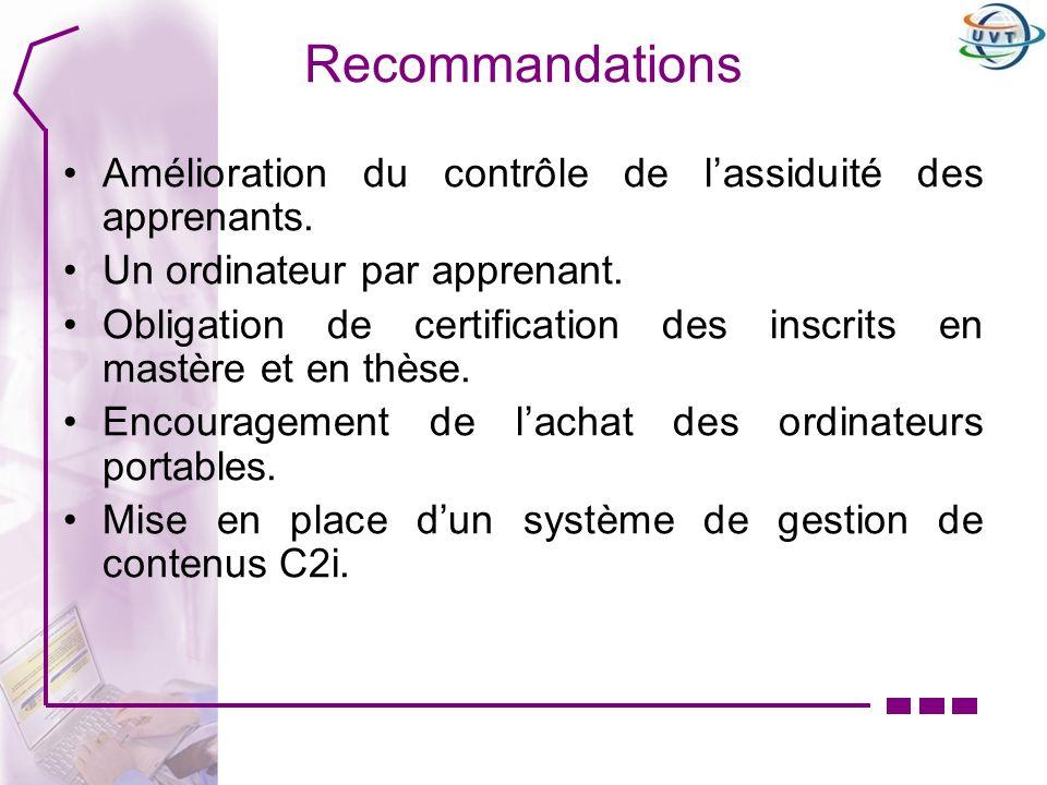 Recommandations Amélioration du contrôle de l'assiduité des apprenants. Un ordinateur par apprenant.