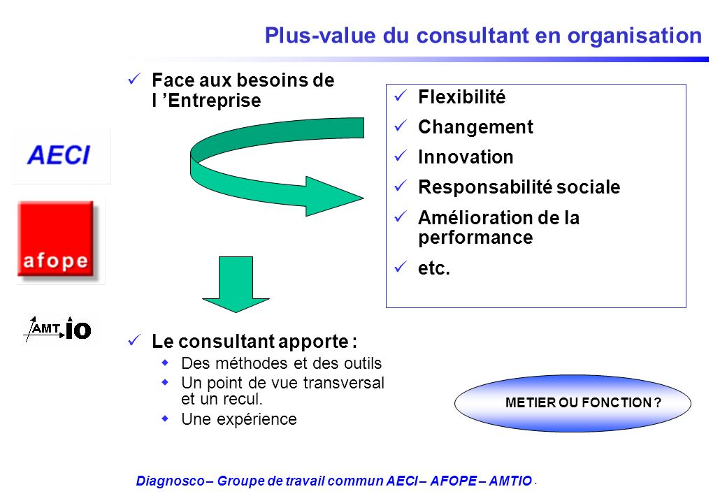 Plus-value du consultant en organisation