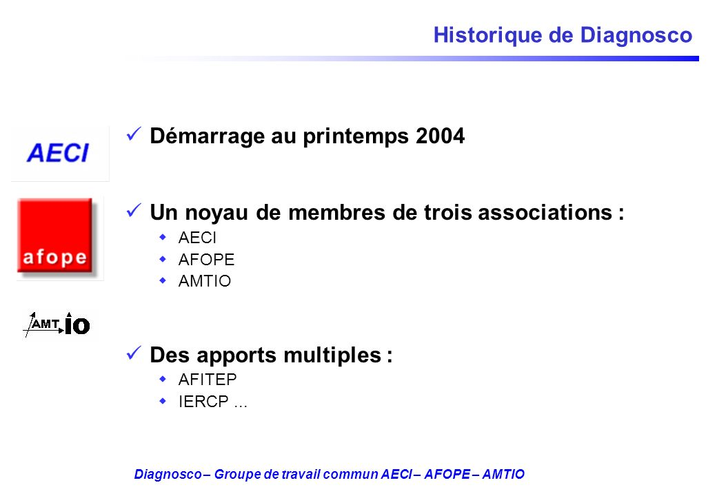 Historique de Diagnosco