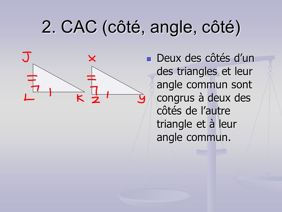 2. CAC (côté, angle, côté)