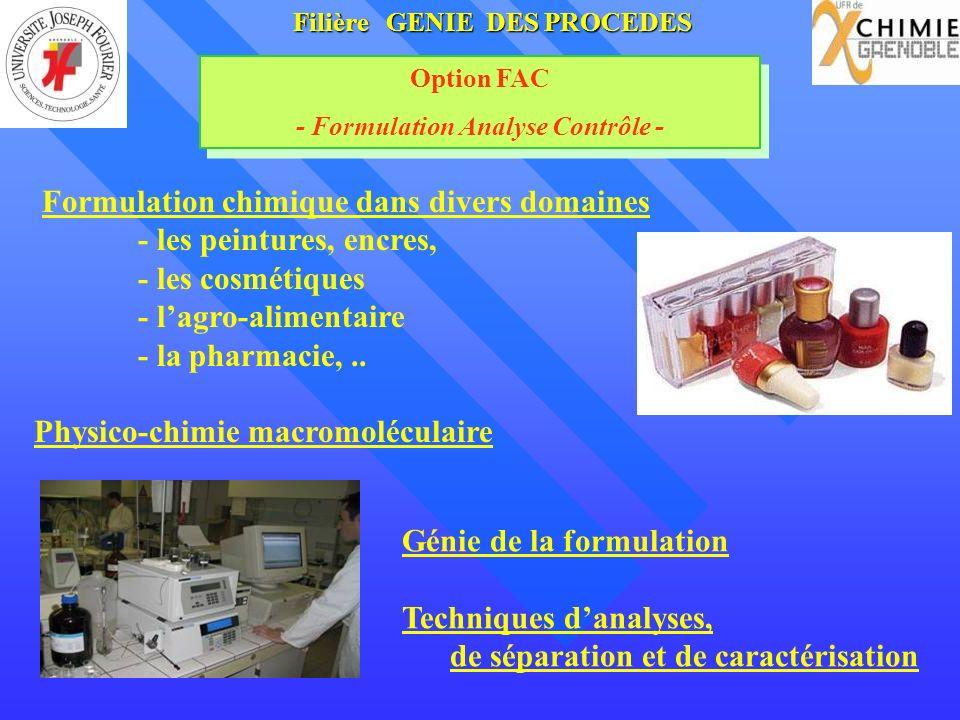 Filière GENIE DES PROCEDES - Formulation Analyse Contrôle -