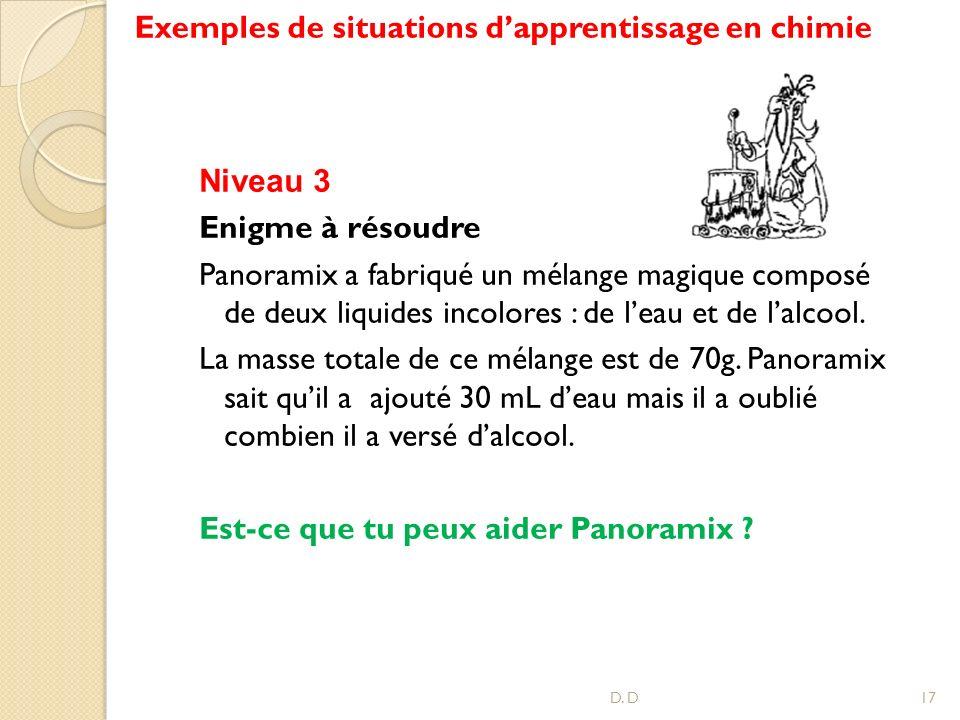 Exemples de situations d'apprentissage en chimie
