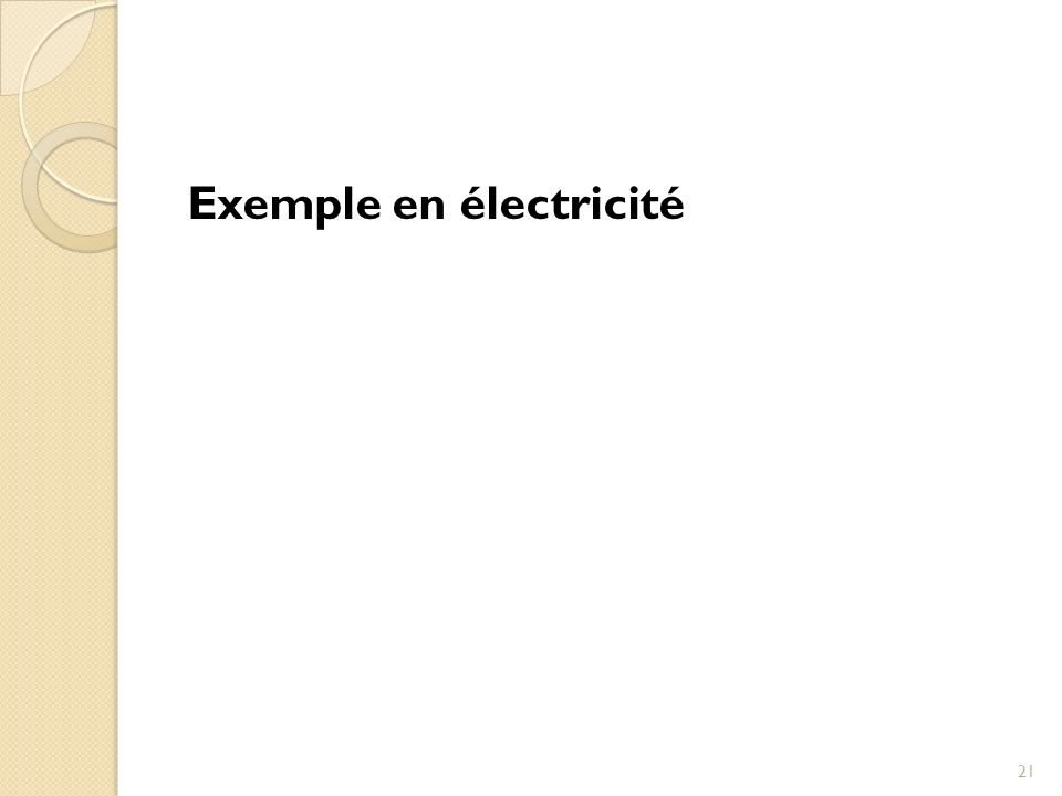 Exemple en électricité