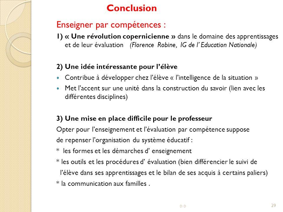 Conclusion Enseigner par compétences :