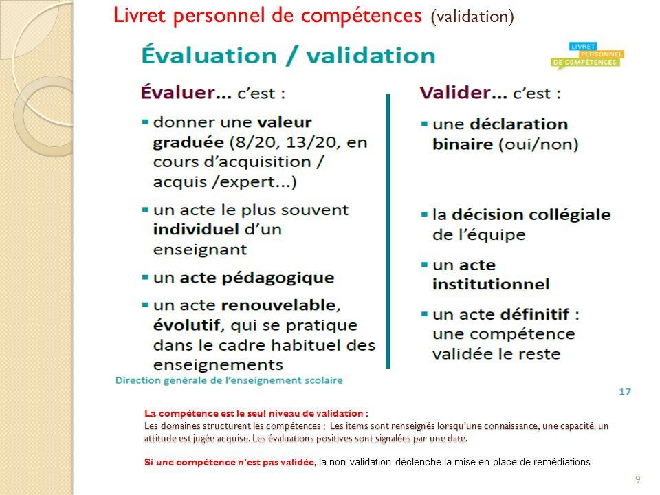 Livret personnel de compétences (validation)