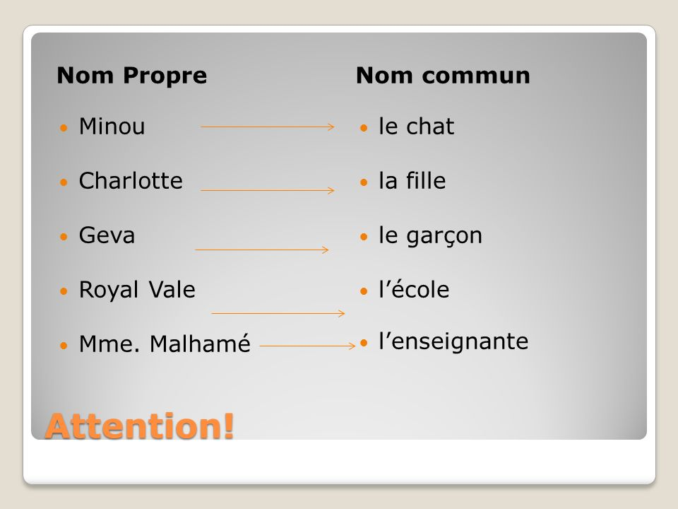 Attention! Nom Propre Nom commun Minou Charlotte Geva Royal Vale