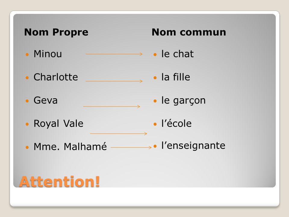 Attention! Nom Propre Nom commun Minou Charlotte Geva Royal Vale