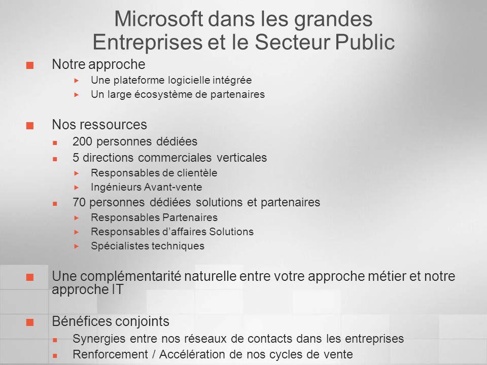 Microsoft dans les grandes Entreprises et le Secteur Public