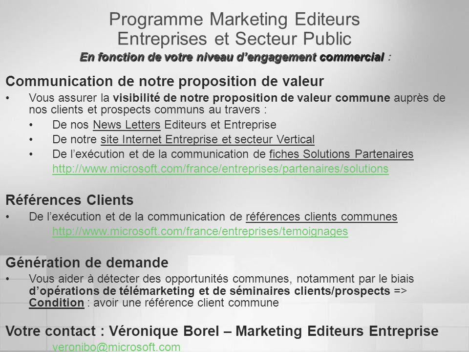 Programme Marketing Editeurs Entreprises et Secteur Public