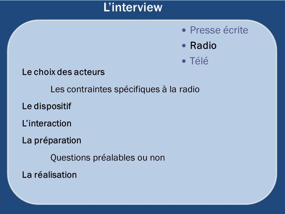 L'interview Presse écrite Radio Télé Le choix des acteurs
