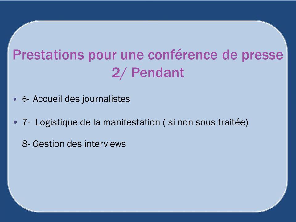 Prestations pour une conférence de presse 2/ Pendant