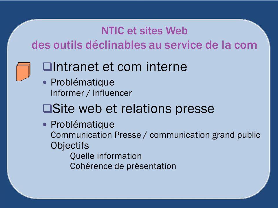 NTIC et sites Web des outils déclinables au service de la com