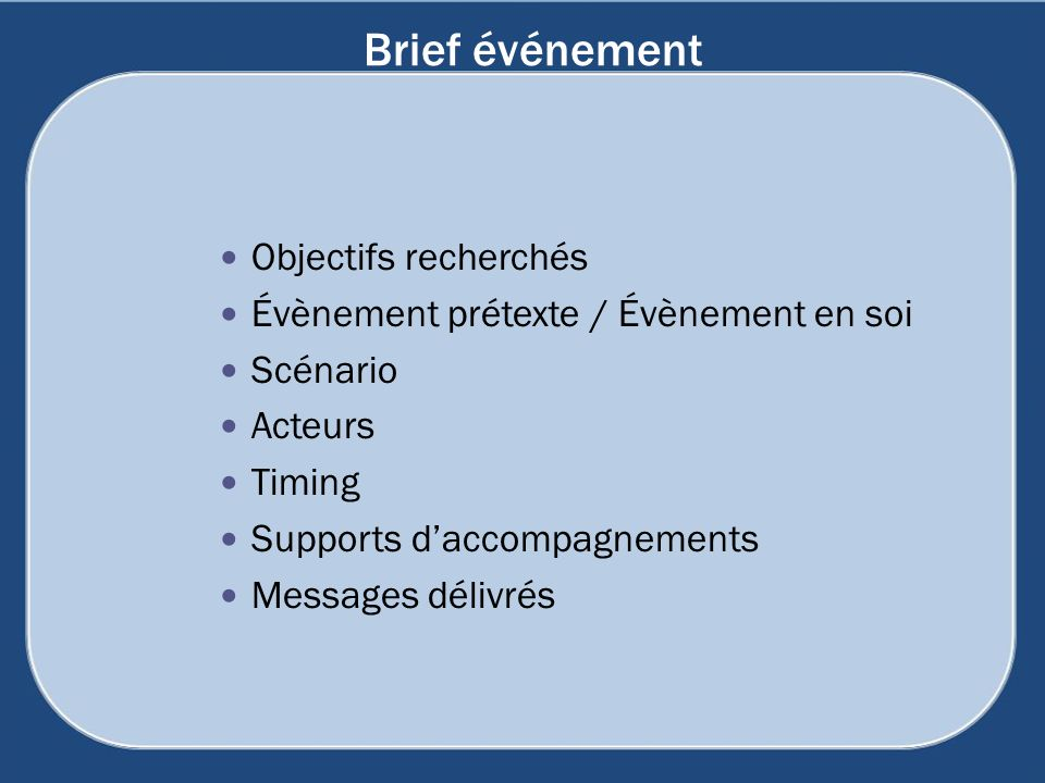 Brief événement Objectifs recherchés