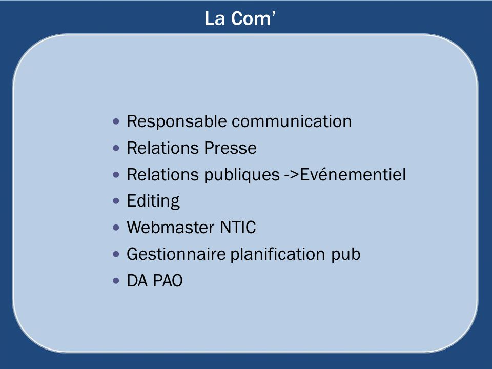 La Com' Responsable communication Relations Presse