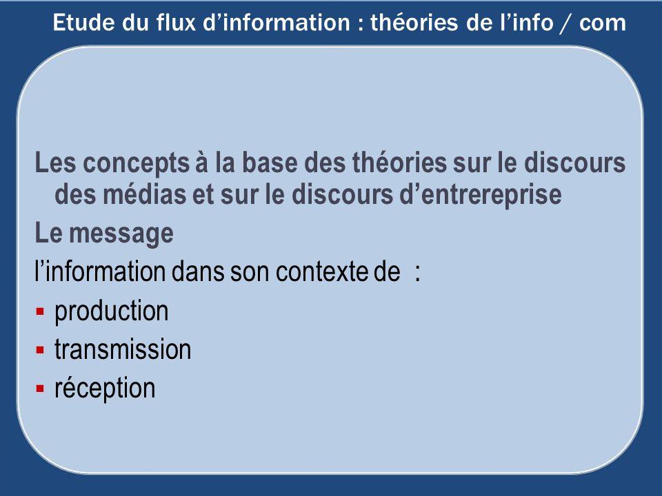 Etude du flux d'information : théories de l'info / com