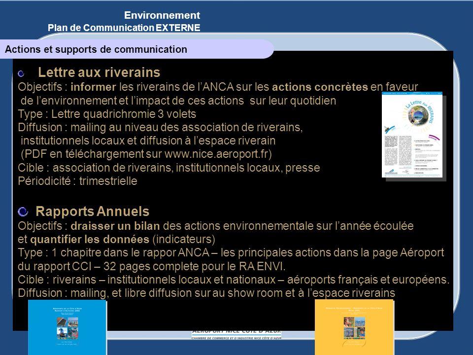 Environnement Plan de Communication EXTERNE. Actions et supports de communication. Lettre aux riverains.