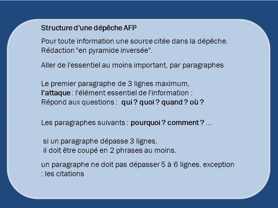 Structure d une dépêche AFP