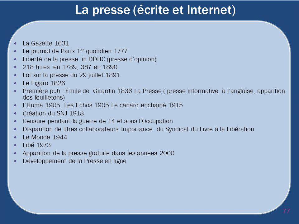 La presse (écrite et Internet)