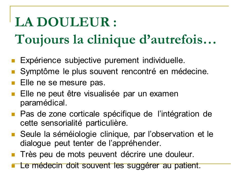 LA DOULEUR : Toujours la clinique d'autrefois…