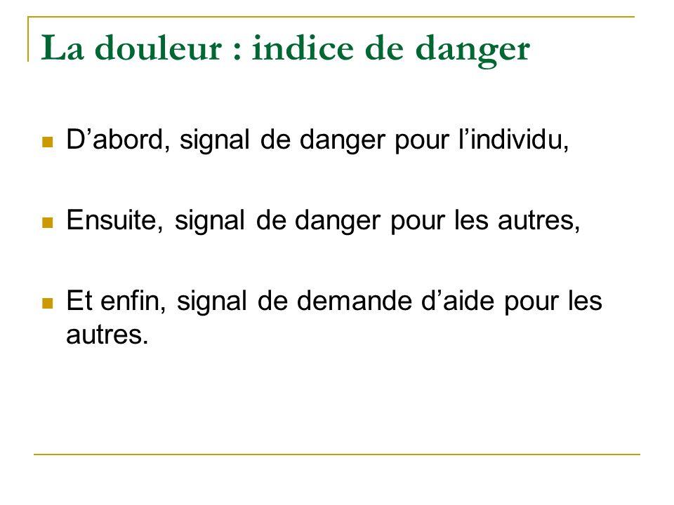La douleur : indice de danger