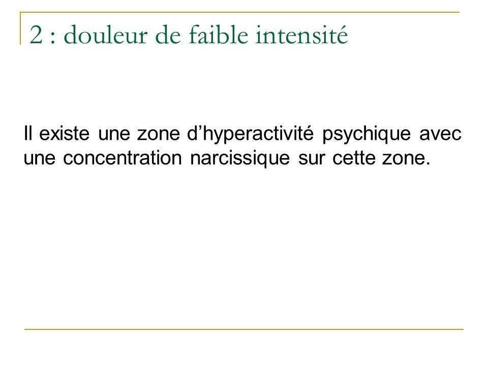2 : douleur de faible intensité
