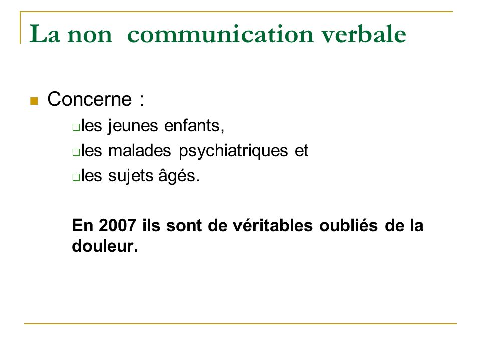 La non communication verbale