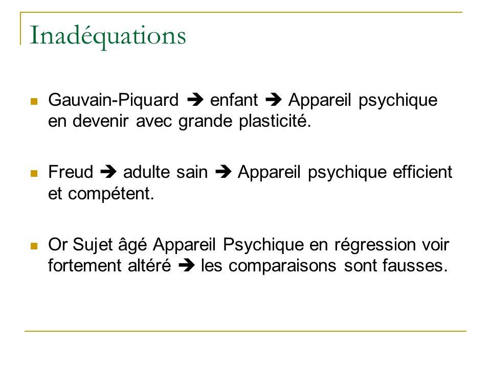 Inadéquations Gauvain-Piquard  enfant  Appareil psychique en devenir avec grande plasticité.