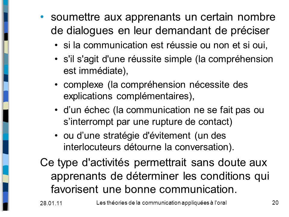 Les théories de la communication appliquées à l oral