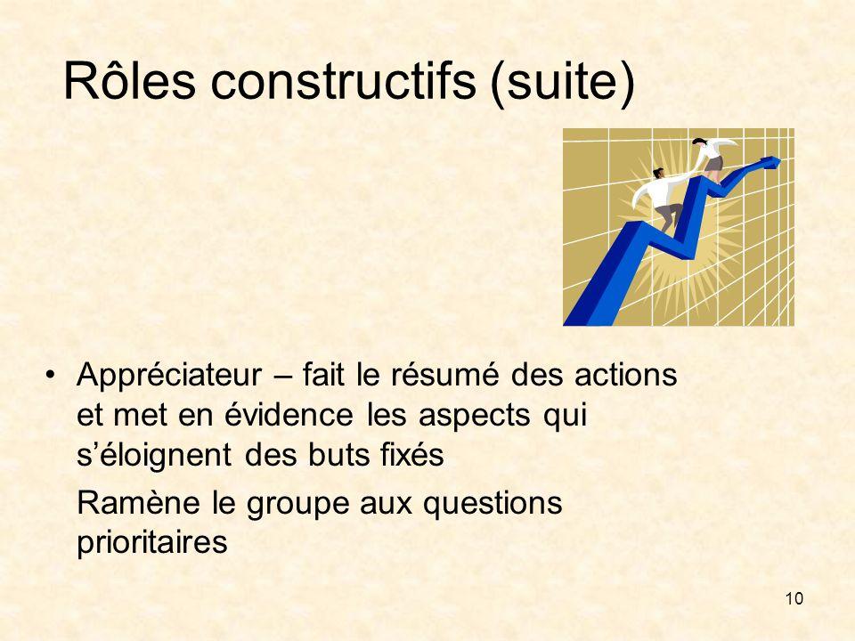 Rôles constructifs (suite)