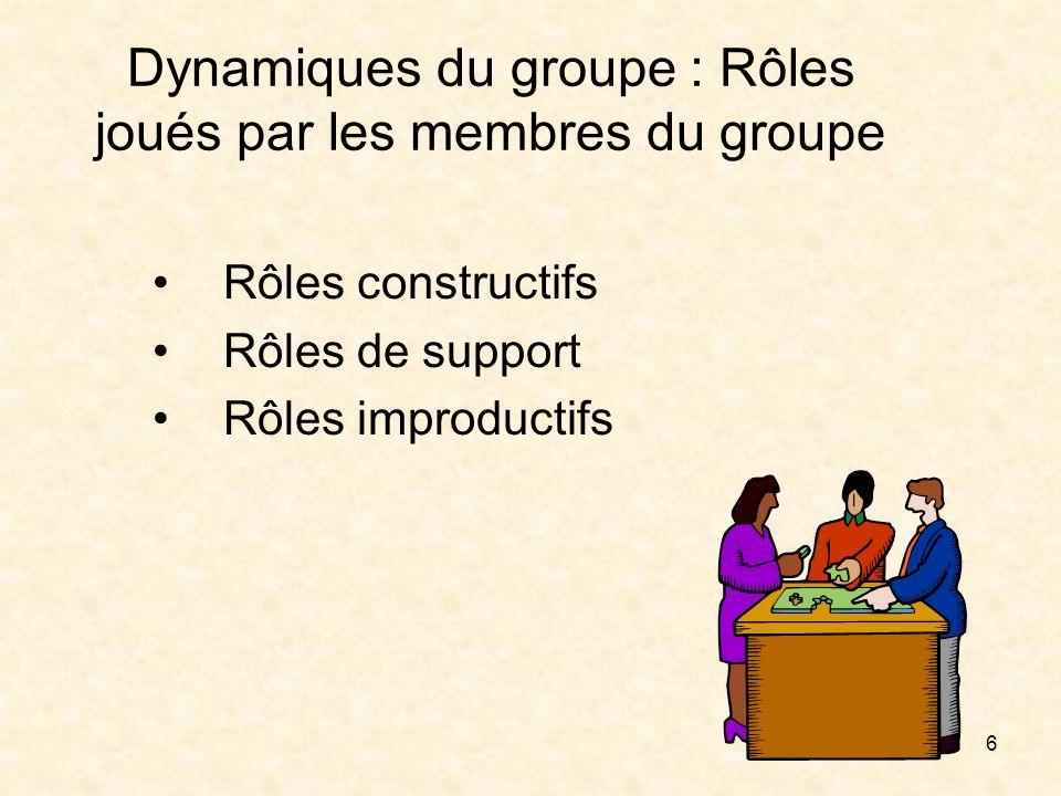Rôles constructifs Examinons, d'abord, les rôles constructifs.