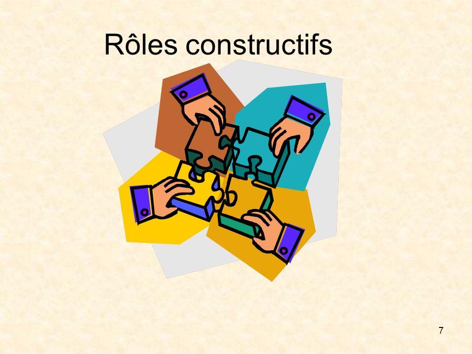 Rôles constructifs Chercheur d'informations ou d'opinions