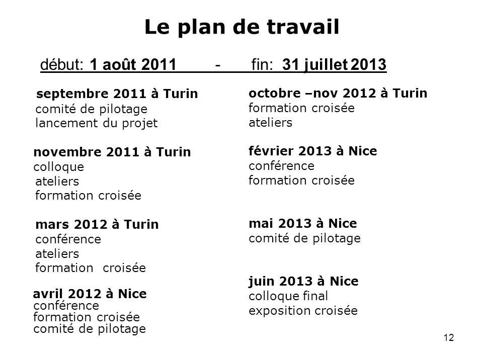 Le plan de travail début: 1 août 2011 - fin: 31 juillet 2013