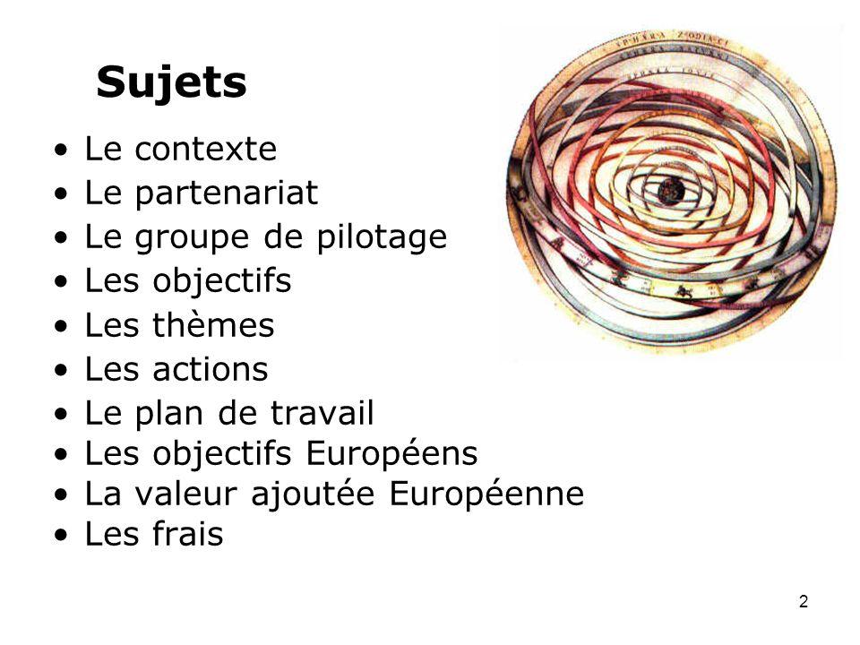 Sujets Le contexte Le partenariat Le groupe de pilotage Les objectifs